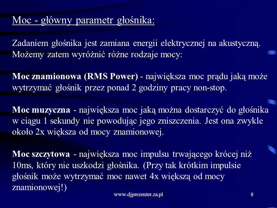 www.djprezenter.za.pl8 Moc - główny parametr głośnika: Zadaniem głośnika jest zamiana energii elektrycznej na akustyczną.