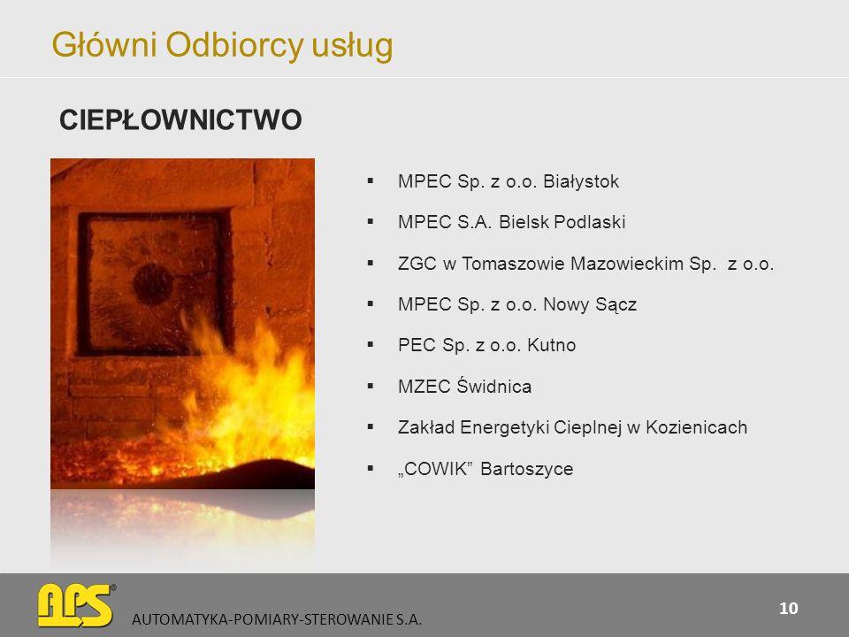 Główni Odbiorcy usług MPEC Sp. z o.o. Białystok MPEC S.A. Bielsk Podlaski ZGC w Tomaszowie Mazowieckim Sp. z o.o. MPEC Sp. z o.o. Nowy Sącz PEC Sp. z
