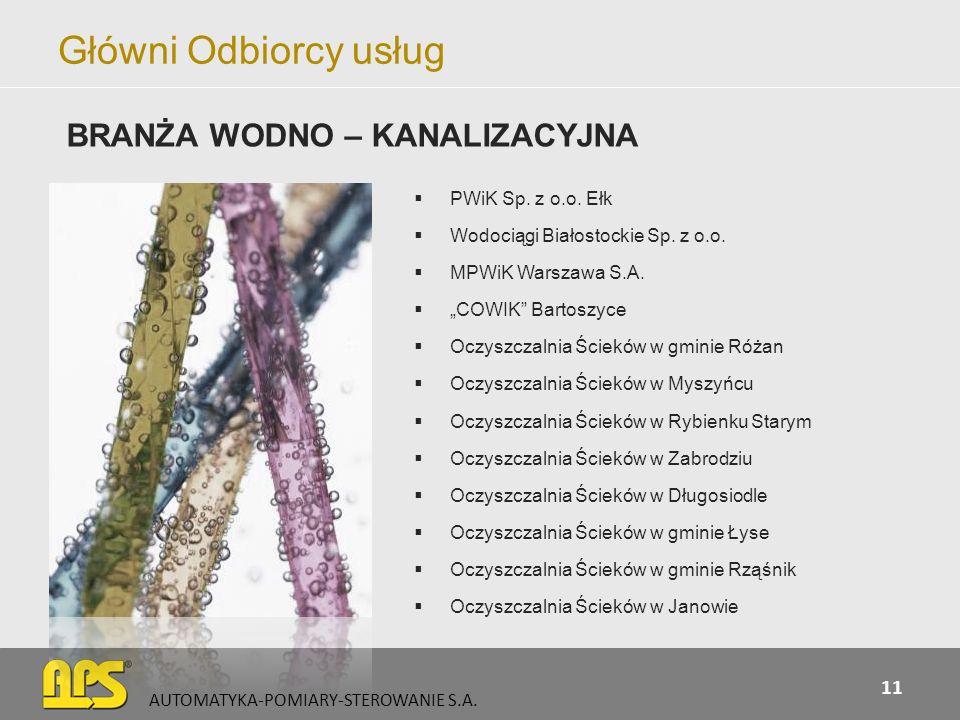 Główni Odbiorcy usług PWiK Sp. z o.o. Ełk Wodociągi Białostockie Sp. z o.o. MPWiK Warszawa S.A. COWIK Bartoszyce Oczyszczalnia Ścieków w gminie Różan