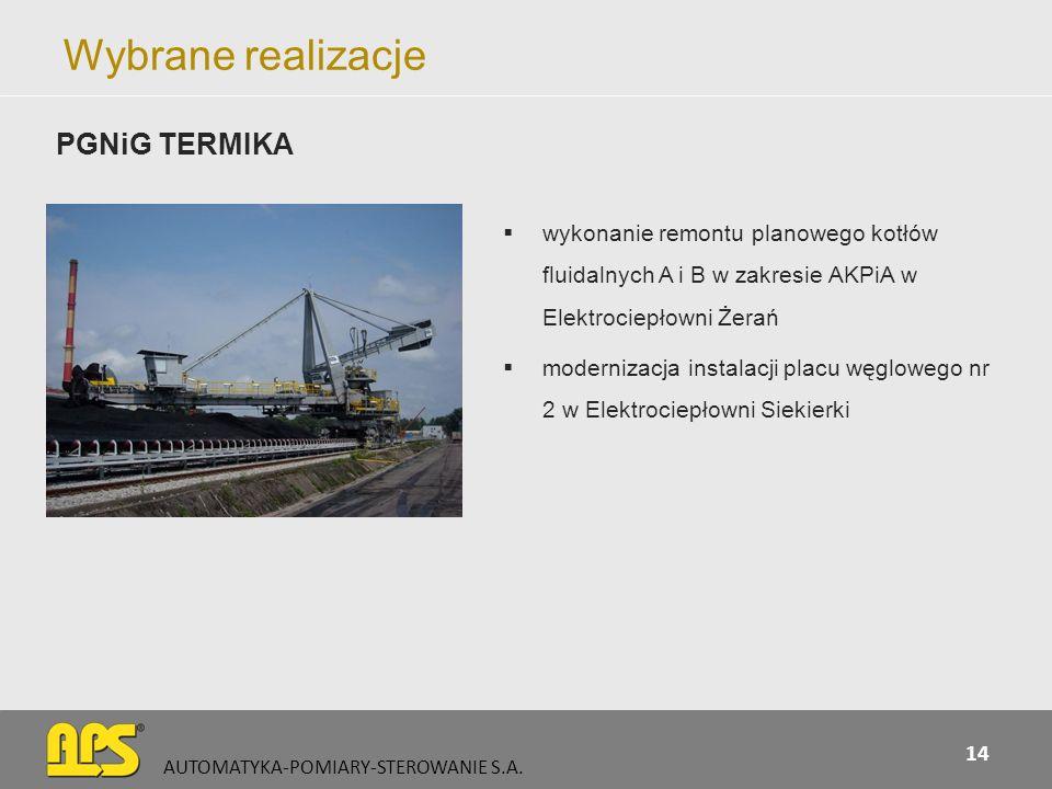 Wybrane realizacje wykonanie remontu planowego kotłów fluidalnych A i B w zakresie AKPiA w Elektrociepłowni Żerań modernizacja instalacji placu węglow