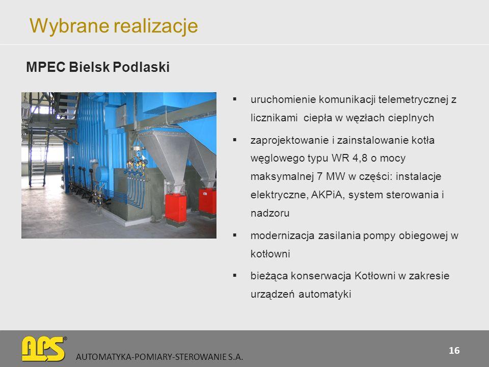Wybrane realizacje uruchomienie komunikacji telemetrycznej z licznikami ciepła w węzłach cieplnych zaprojektowanie i zainstalowanie kotła węglowego ty