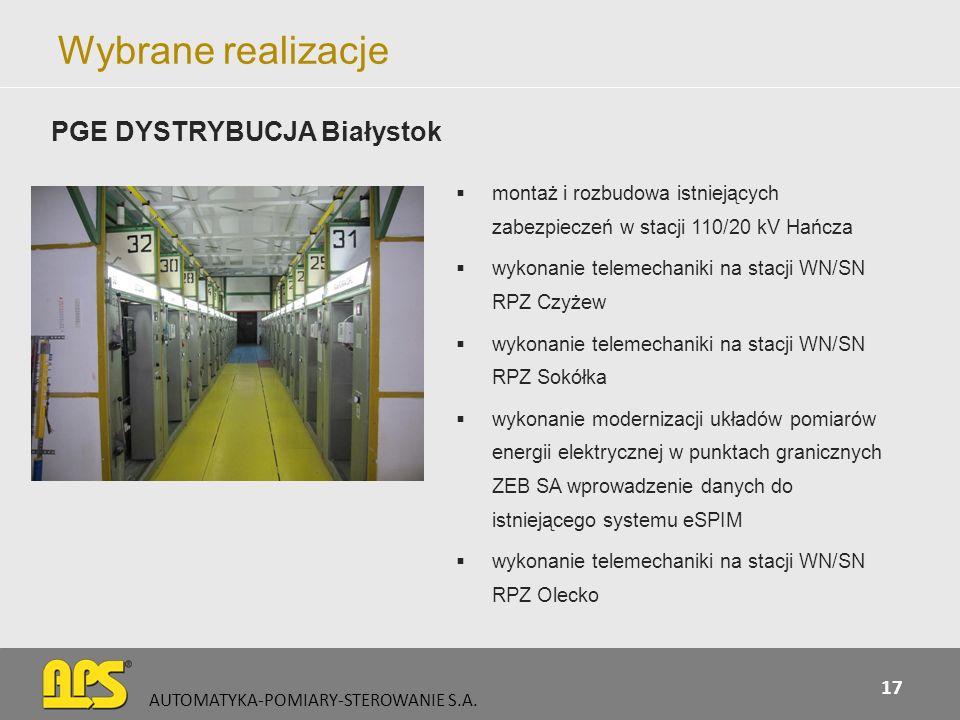 Wybrane realizacje montaż i rozbudowa istniejących zabezpieczeń w stacji 110/20 kV Hańcza wykonanie telemechaniki na stacji WN/SN RPZ Czyżew wykonanie