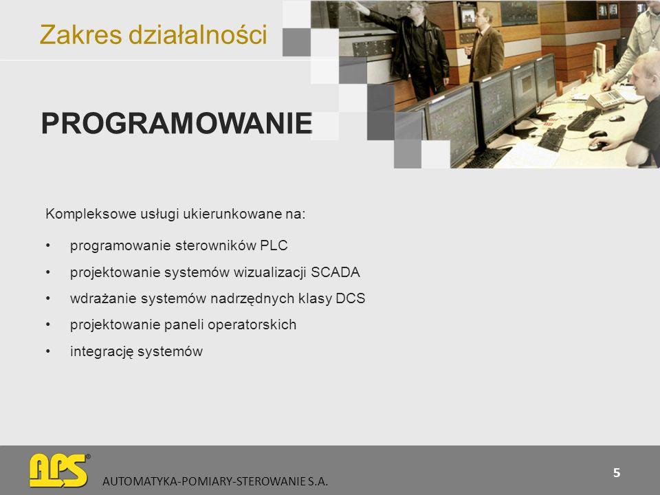 Zakres działalności Kompleksowe usługi ukierunkowane na: programowanie sterowników PLC projektowanie systemów wizualizacji SCADA wdrażanie systemów na
