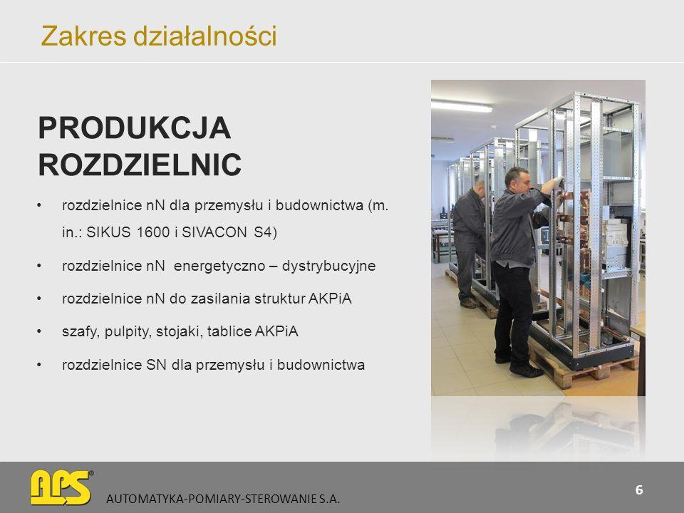 Zakres działalności AUTOMATYKA-POMIARY-STEROWANIE S.A.