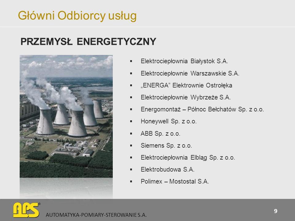 Główni Odbiorcy usług Elektrociepłownia Białystok S.A. Elektrociepłownie Warszawskie S.A. ENERGA Elektrownie Ostrołęka Elektrociepłownie Wybrzeże S.A.