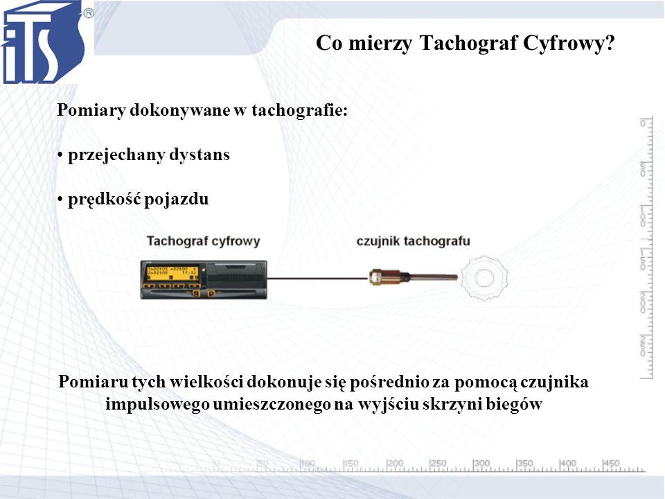 Pomiary dokonywane w tachografie: przejechany dystans prędkość pojazdu Pomiaru tych wielkości dokonuje się pośrednio za pomocą czujnika impulsowego um