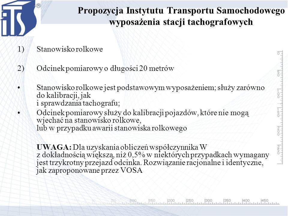 Propozycja Instytutu Transportu Samochodowego wyposażenia stacji tachografowych 1)Stanowisko rolkowe 2)Odcinek pomiarowy o długości 20 metrów Stanowis