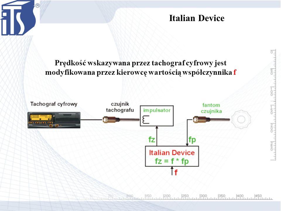 Prędkość wskazywana przez tachograf cyfrowy jest modyfikowana przez kierowcę wartością współczynnika f Italian Device