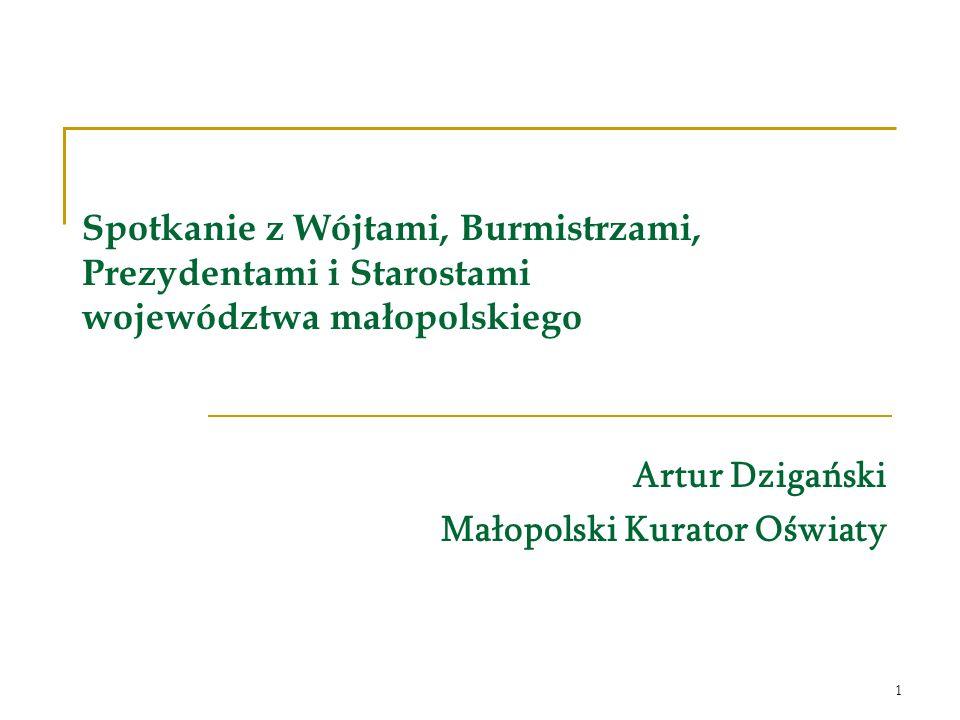 1 Spotkanie z Wójtami, Burmistrzami, Prezydentami i Starostami województwa małopolskiego Artur Dzigański Małopolski Kurator Oświaty