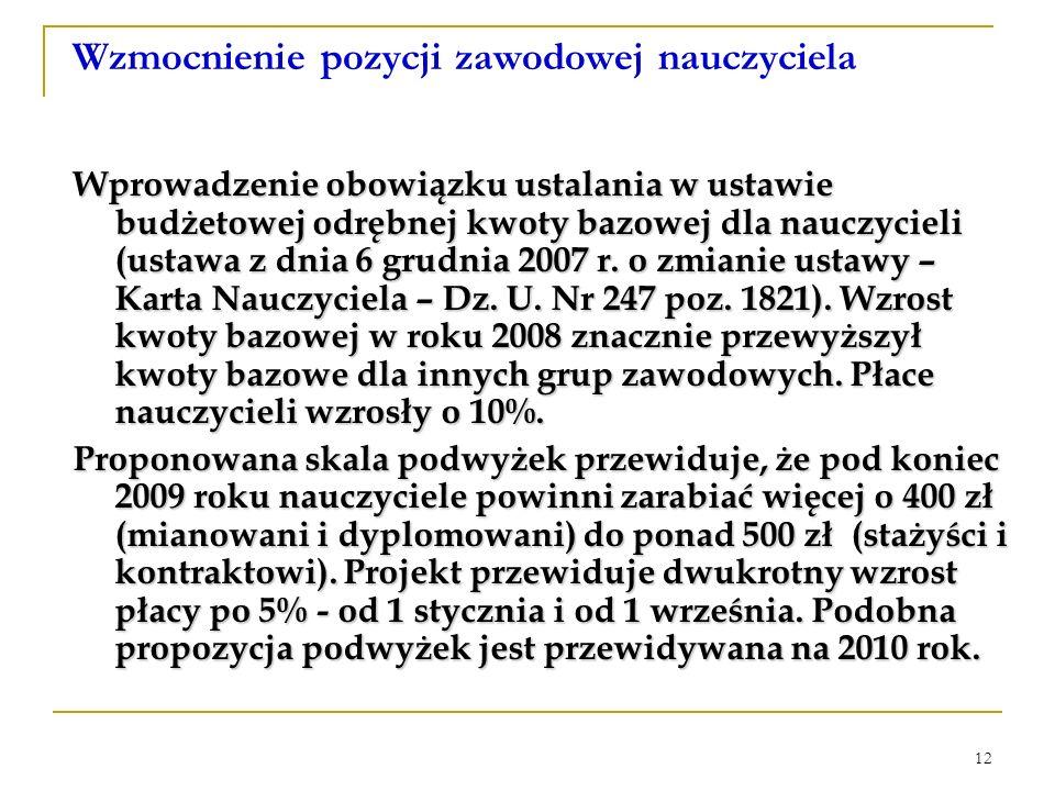 12 Wzmocnienie pozycji zawodowej nauczyciela Wprowadzenie obowiązku ustalania w ustawie budżetowej odrębnej kwoty bazowej dla nauczycieli (ustawa z dnia 6 grudnia 2007 r.
