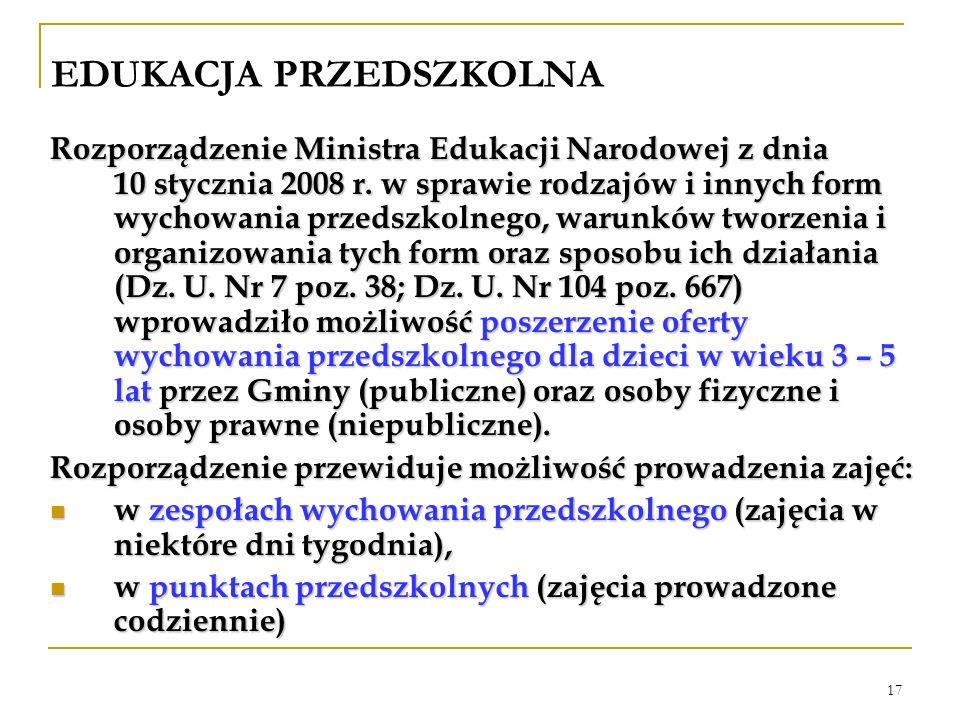 17 EDUKACJA PRZEDSZKOLNA Rozporządzenie Ministra Edukacji Narodowej z dnia 10 stycznia 2008 r. w sprawie rodzajów i innych form wychowania przedszkoln