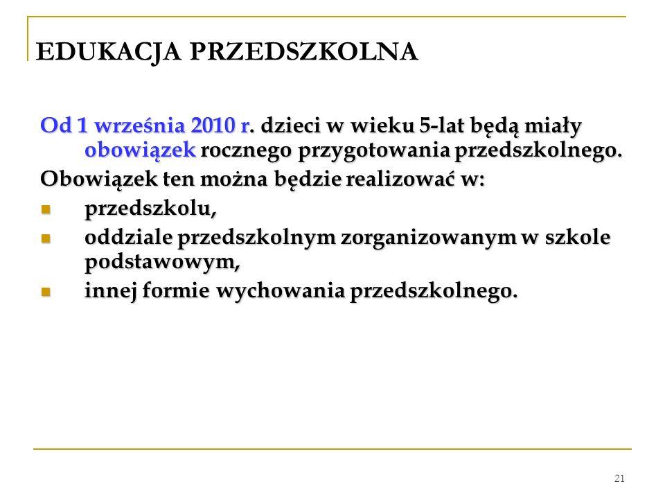 21 EDUKACJA PRZEDSZKOLNA Od 1 września 2010 r. dzieci w wieku 5-lat będą miały obowiązek rocznego przygotowania przedszkolnego. Obowiązek ten można bę