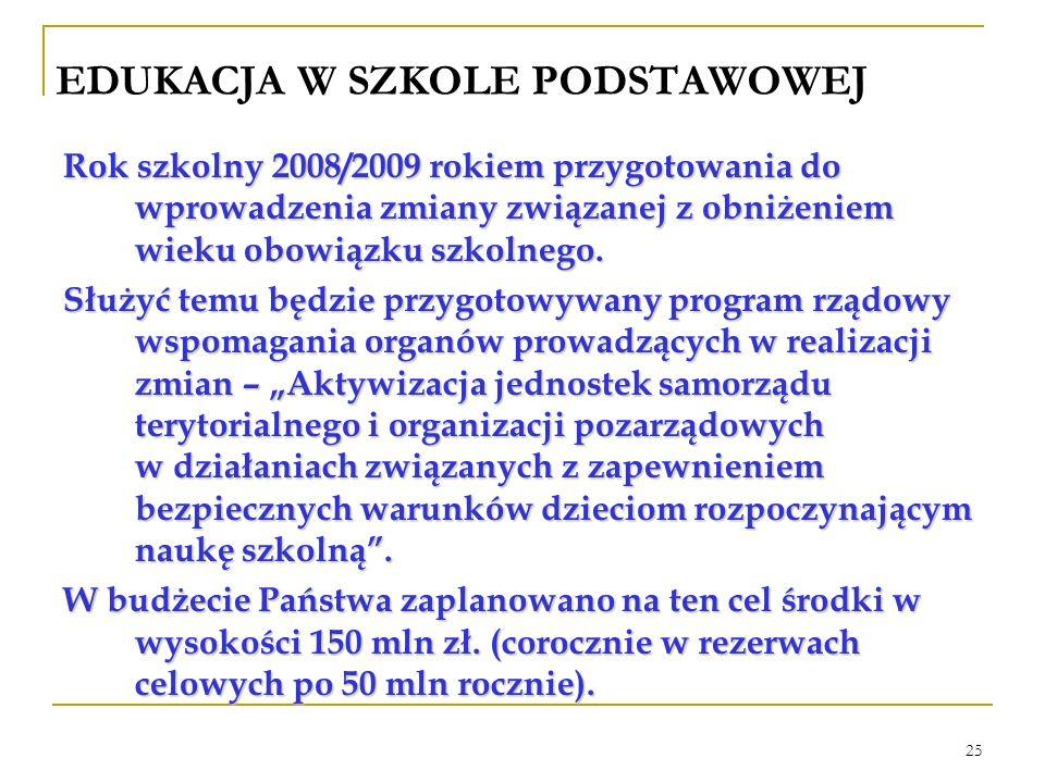 25 EDUKACJA W SZKOLE PODSTAWOWEJ Rok szkolny 2008/2009 rokiem przygotowania do wprowadzenia zmiany związanej z obniżeniem wieku obowiązku szkolnego.