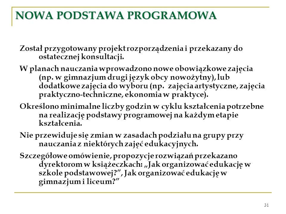 31 NOWA PODSTAWA PROGRAMOWA Został przygotowany projekt rozporządzenia i przekazany do ostatecznej konsultacji. W planach nauczania wprowadzono nowe o