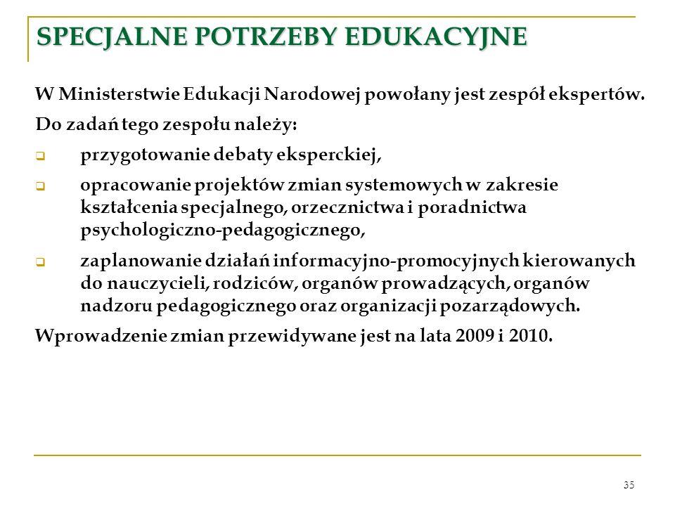 35 SPECJALNE POTRZEBY EDUKACYJNE W Ministerstwie Edukacji Narodowej powołany jest zespół ekspertów.