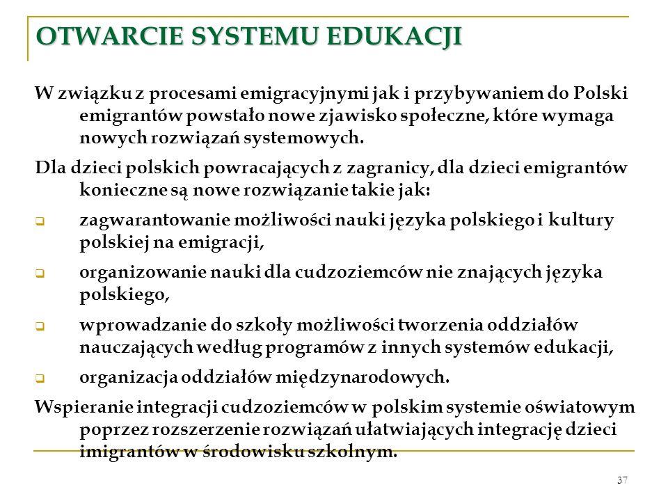 37 OTWARCIE SYSTEMU EDUKACJI W związku z procesami emigracyjnymi jak i przybywaniem do Polski emigrantów powstało nowe zjawisko społeczne, które wymag