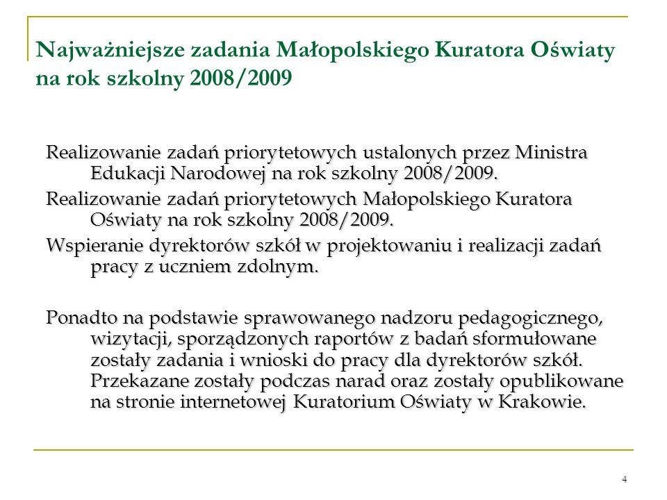 4 Najważniejsze zadania Małopolskiego Kuratora Oświaty na rok szkolny 2008/2009 Realizowanie zadań priorytetowych ustalonych przez Ministra Edukacji Narodowej na rok szkolny 2008/2009.