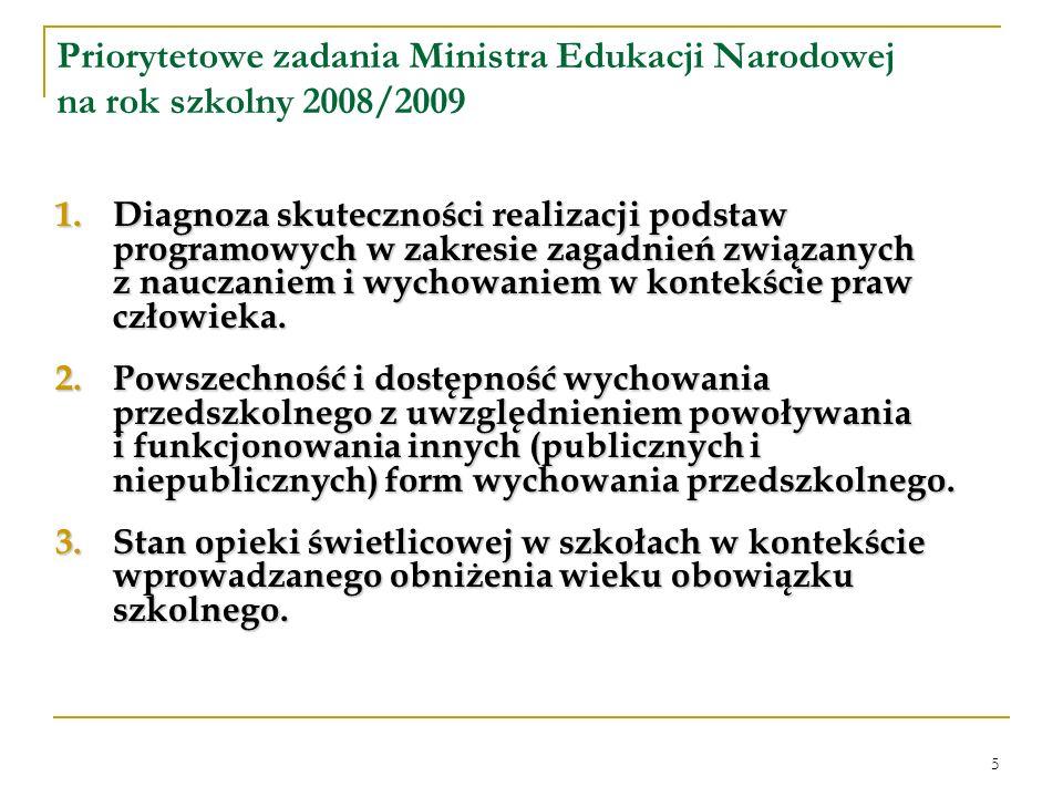 5 Priorytetowe zadania Ministra Edukacji Narodowej na rok szkolny 2008/2009 1.Diagnoza skuteczności realizacji podstaw programowych w zakresie zagadnień związanych z nauczaniem i wychowaniem w kontekście praw człowieka.