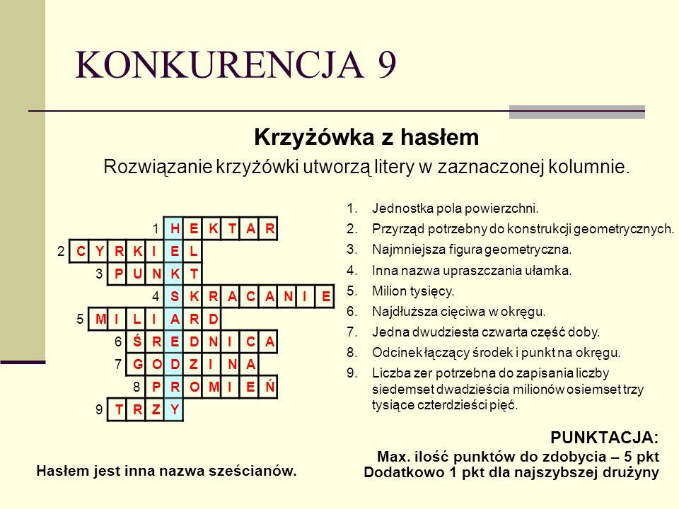 KONKURENCJA 9 Krzyżówka z hasłem Rozwiązanie krzyżówki utworzą litery w zaznaczonej kolumnie.