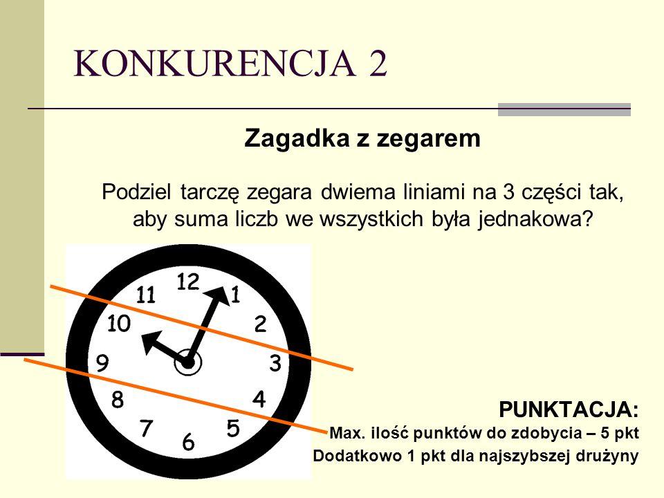 KONKURENCJA 2 Zagadka z zegarem Podziel tarczę zegara dwiema liniami na 3 części tak, aby suma liczb we wszystkich była jednakowa.