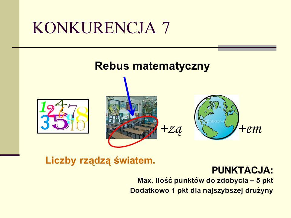 KONKURENCJA 7 Rebus matematyczny PUNKTACJA: Max.