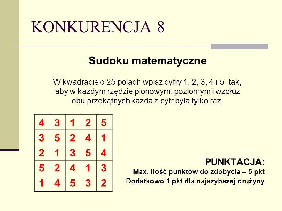 KONKURENCJA 8 Sudoku matematyczne W kwadracie o 25 polach wpisz cyfry 1, 2, 3, 4 i 5 tak, aby w każdym rzędzie pionowym, poziomym i wzdłuż obu przekątnych każda z cyfr była tylko raz.