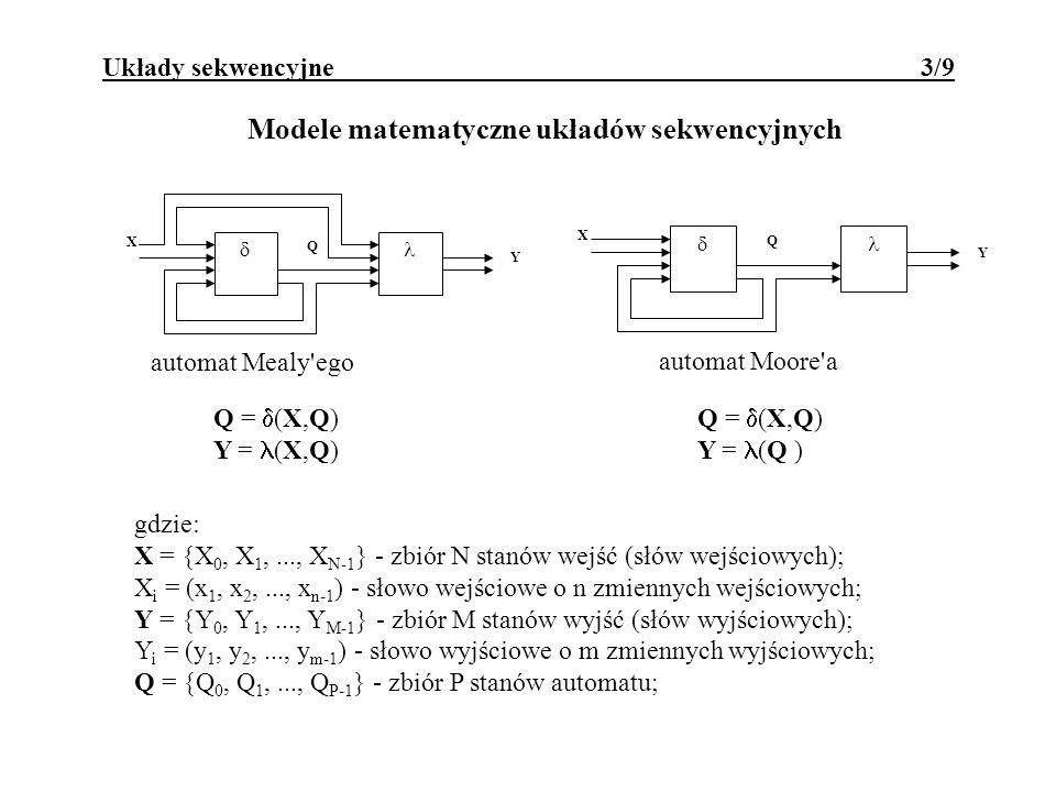 Modele matematyczne układów sekwencyjnych X Y automat Mealy'ego Q X Y automat Moore'a Q Q = (X,Q)Q = (X,Q) Y = (X,Q)Y = (Q ) gdzie: X = {X 0, X 1,...,