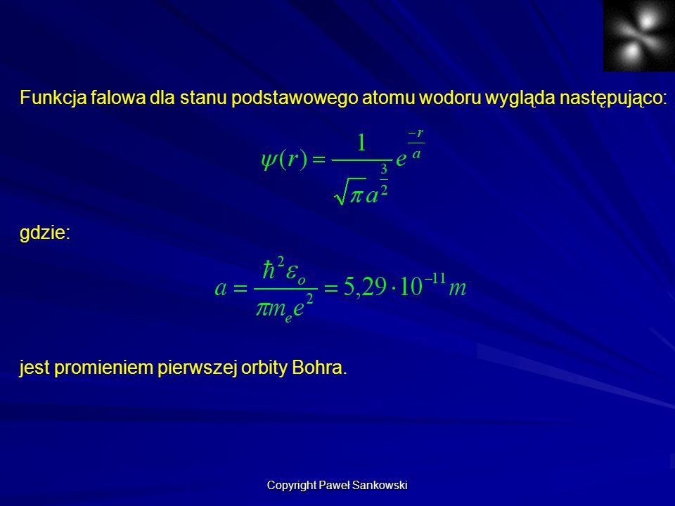 Funkcja falowa dla stanu podstawowego atomu wodoru wygląda następująco: gdzie: jest promieniem pierwszej orbity Bohra. Copyright Paweł Sankowski