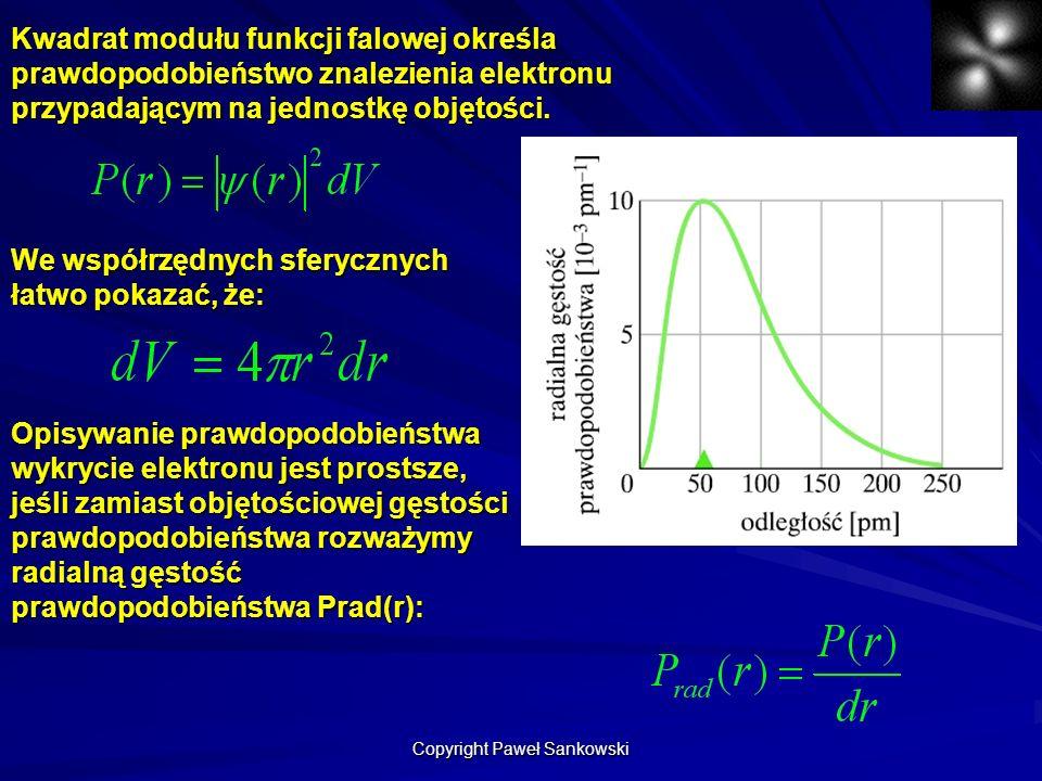 Kwadrat modułu funkcji falowej określa prawdopodobieństwo znalezienia elektronu przypadającym na jednostkę objętości. We współrzędnych sferycznych łat