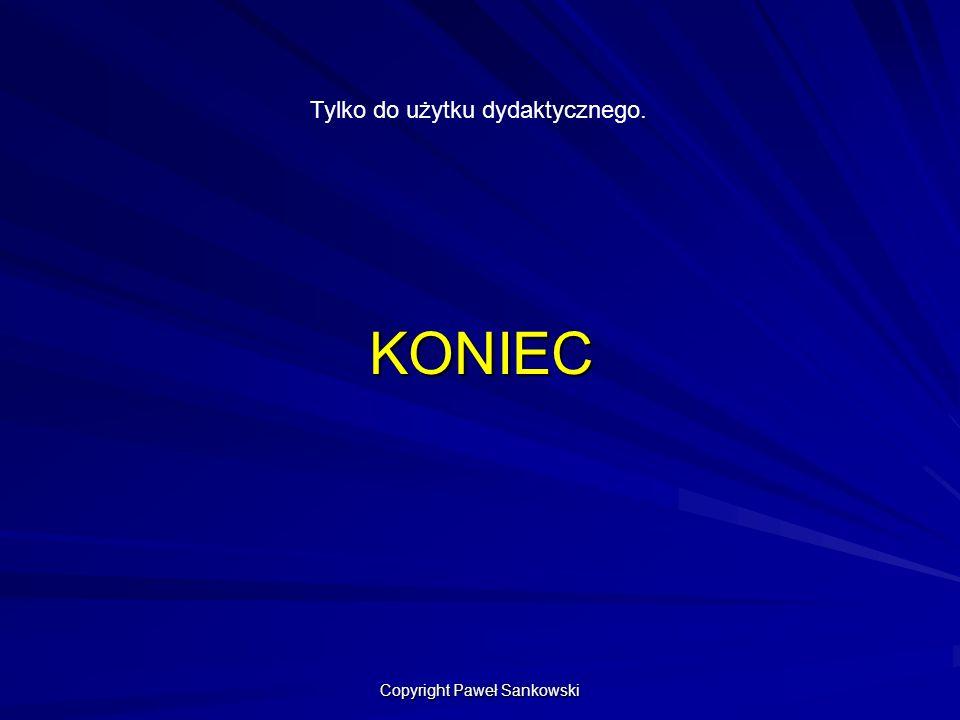KONIEC Tylko do użytku dydaktycznego. Copyright Paweł Sankowski