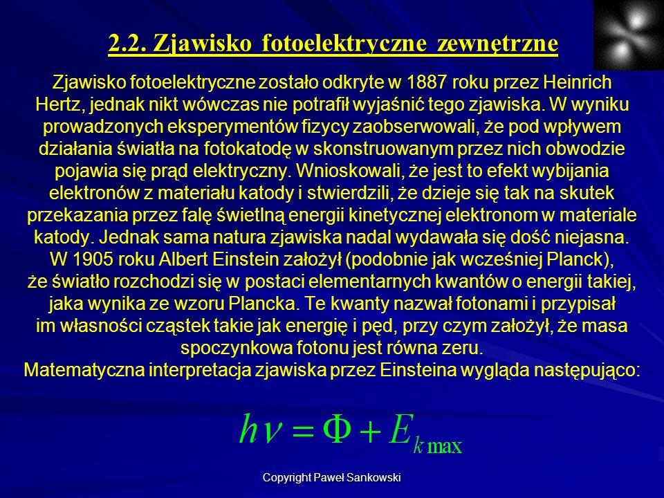 2.2. Zjawisko fotoelektryczne zewnętrzne Zjawisko fotoelektryczne zostało odkryte w 1887 roku przez Heinrich Hertz, jednak nikt wówczas nie potrafił w