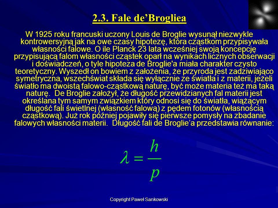 2.3. Fale deBrogliea W 1925 roku francuski uczony Louis de Broglie wysunął niezwykle kontrowersyjną jak na owe czasy hipotezę, która cząstkom przypisy