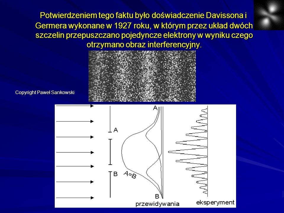 Potwierdzeniem tego faktu było doświadczenie Davissona i Germera wykonane w 1927 roku, w którym przez układ dwóch szczelin przepuszczano pojedyncze el