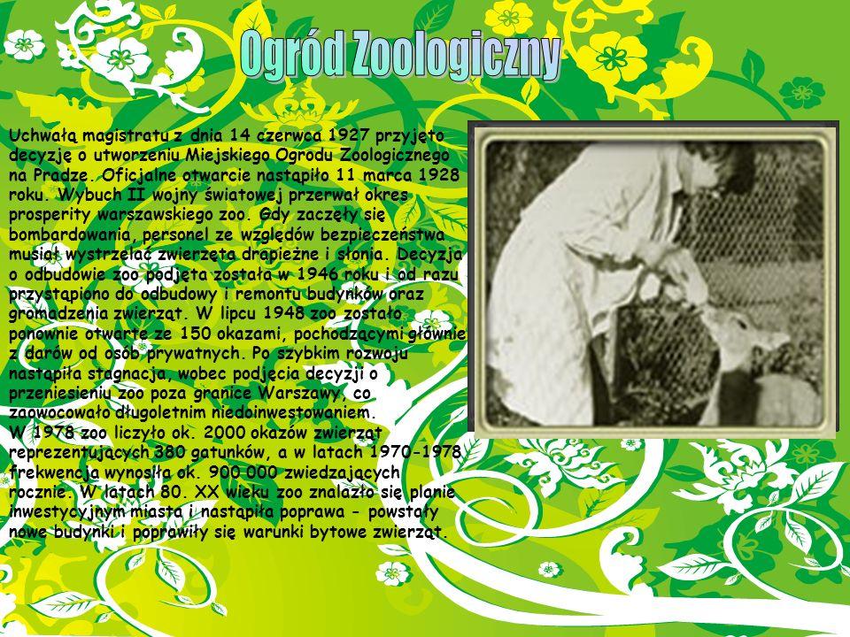 Uchwałą magistratu z dnia 14 czerwca 1927 przyjęto decyzję o utworzeniu Miejskiego Ogrodu Zoologicznego na Pradze. Oficjalne otwarcie nastąpiło 11 mar