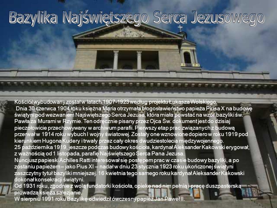 Kościół wybudowany został w latach 1907-1923 według projektu Łukasza Wolskiego. Dnia 30 czerwca 1904 roku księżna Maria otrzymała błogosławieństwo pap