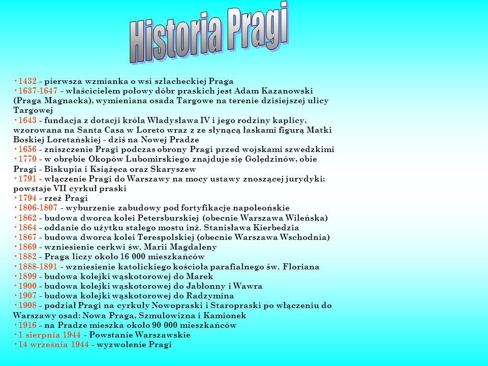 1432 - pierwsza wzmianka o wsi szlacheckiej Praga 1637-1647 - właścicielem połowy dóbr praskich jest Adam Kazanowski (Praga Magnacka), wymieniana osad