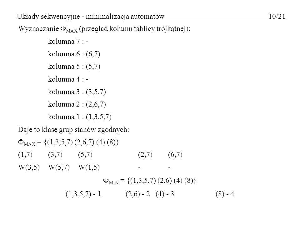 Wyznaczanie MAX (przegląd kolumn tablicy trójkątnej): kolumna 7 : - kolumna 6 : (6,7) kolumna 5 : (5,7) kolumna 4 : - kolumna 3 : (3,5,7) kolumna 2 :