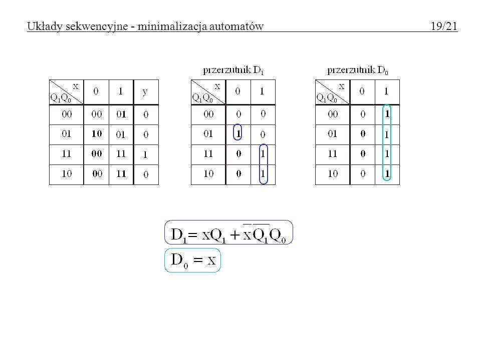 Układy sekwencyjne - minimalizacja automatów 19/21