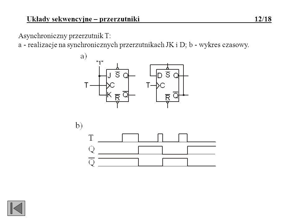 Asynchroniczny przerzutnik T: a - realizacje na synchronicznych przerzutnikach JK i D; b - wykres czasowy. Układy sekwencyjne – przerzutniki 12/18