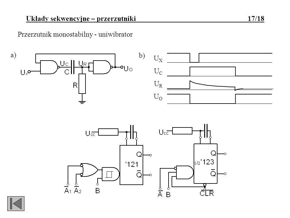 Przerzutnik monostabilny - uniwibrator a) UXUCURUOUXUCURUO b) Układy sekwencyjne – przerzutniki 17/18