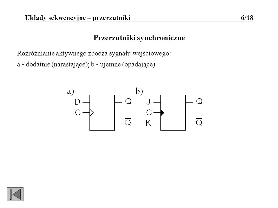 Przerzutnik D synchronizowany zboczem narastającym: a - symbol logiczny; b - schemat logiczny; c - tablica prawdy; d - tablica wzbudzeń; e - wykres czasowy.