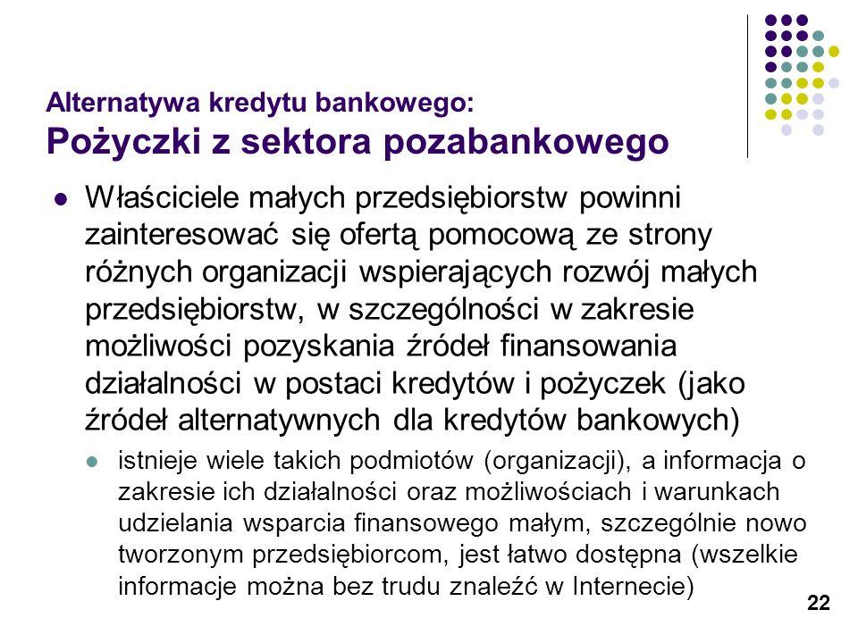 22 Alternatywa kredytu bankowego: Pożyczki z sektora pozabankowego Właściciele małych przedsiębiorstw powinni zainteresować się ofertą pomocową ze str