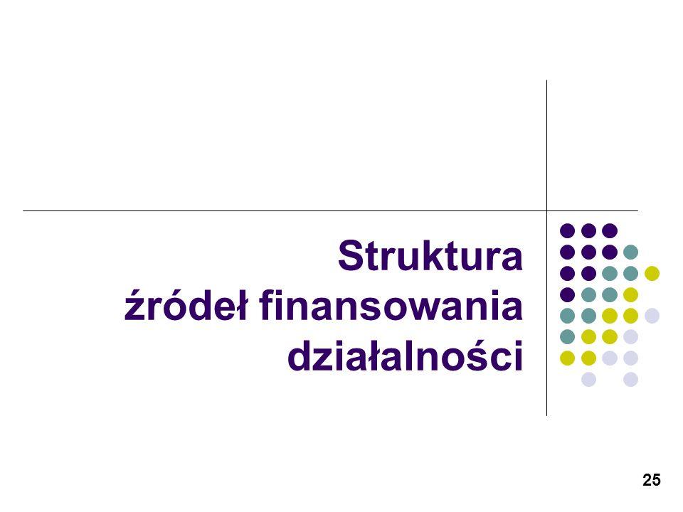 25 Struktura źródeł finansowania działalności