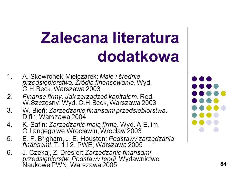 54 Zalecana literatura dodatkowa 1.A. Skowronek-Mielczarek: Małe i średnie przedsiębiorstwa. Źródła finansowania. Wyd. C.H.Beck, Warszawa 2003 2.Finan