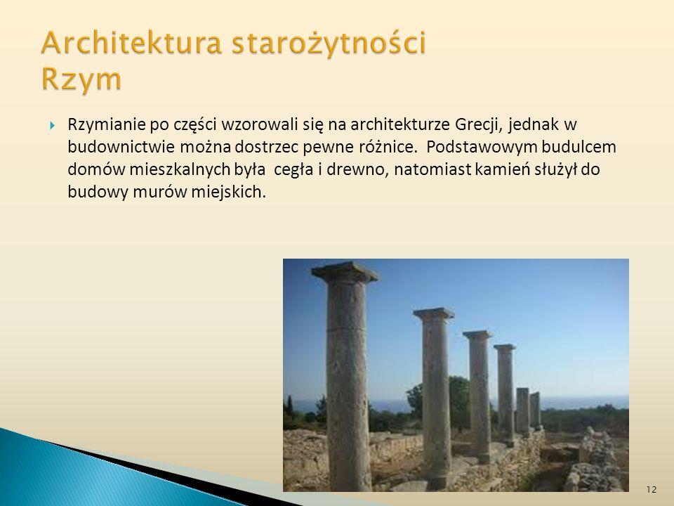 Rzymianie po części wzorowali się na architekturze Grecji, jednak w budownictwie można dostrzec pewne różnice. Podstawowym budulcem domów mieszkalnych