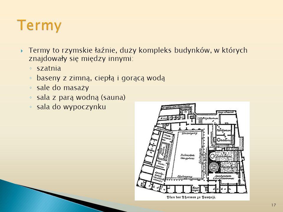 Termy to rzymskie łaźnie, duży kompleks budynków, w których znajdowały się między innymi: szatnia baseny z zimną, ciepłą i gorącą wodą sale do masaży