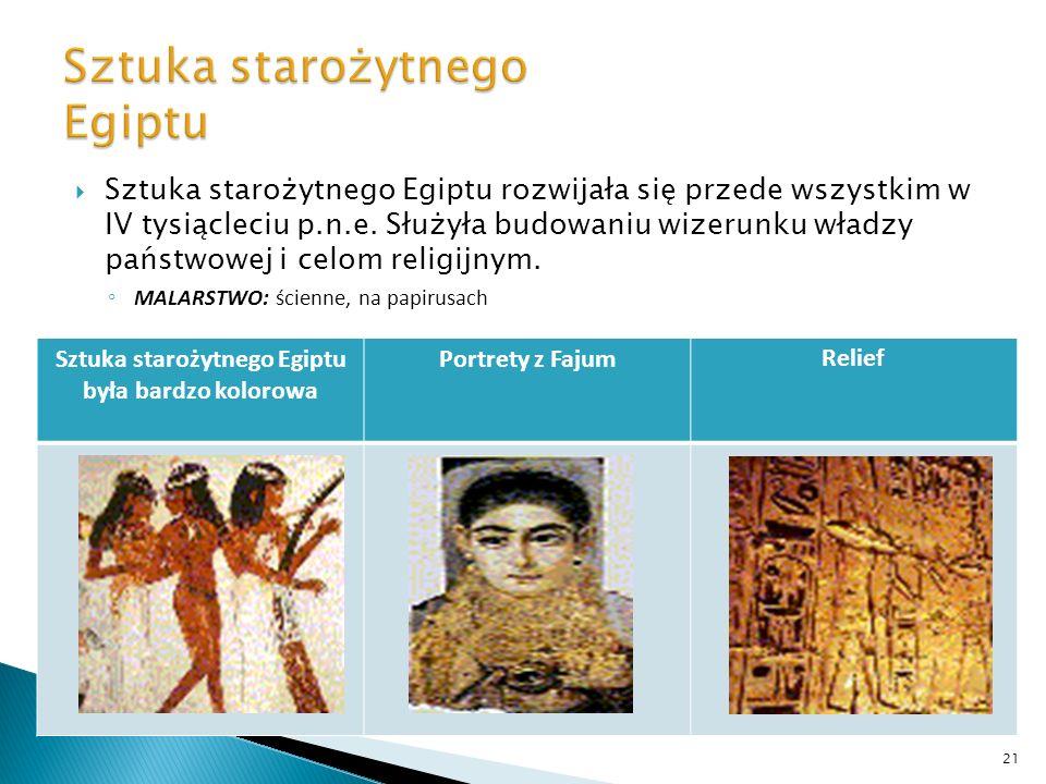 Sztuka starożytnego Egiptu rozwijała się przede wszystkim w IV tysiącleciu p.n.e. Służyła budowaniu wizerunku władzy państwowej i celom religijnym. MA