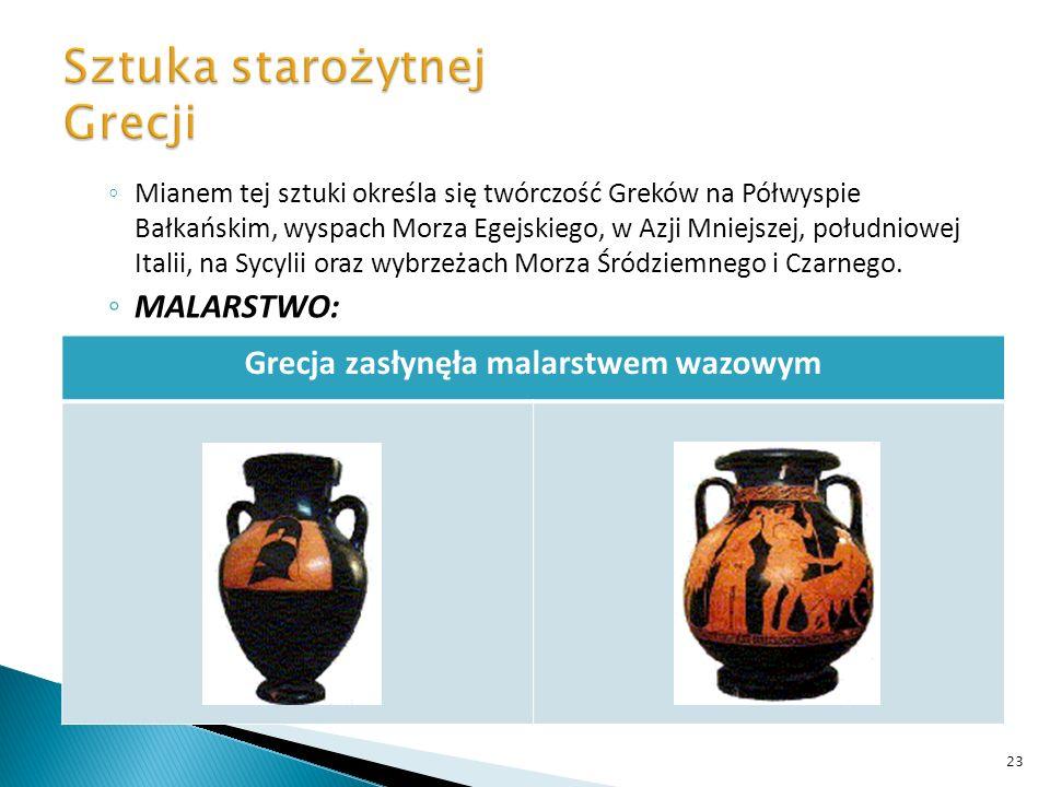 Mianem tej sztuki określa się twórczość Greków na Półwyspie Bałkańskim, wyspach Morza Egejskiego, w Azji Mniejszej, południowej Italii, na Sycylii ora