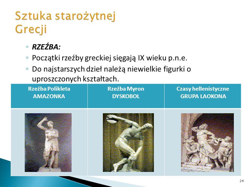 RZEŹBA: Początki rzeźby greckiej sięgają IX wieku p.n.e. Do najstarszych dzieł należą niewielkie figurki o uproszczonych kształtach. Rzeźba Polikleta