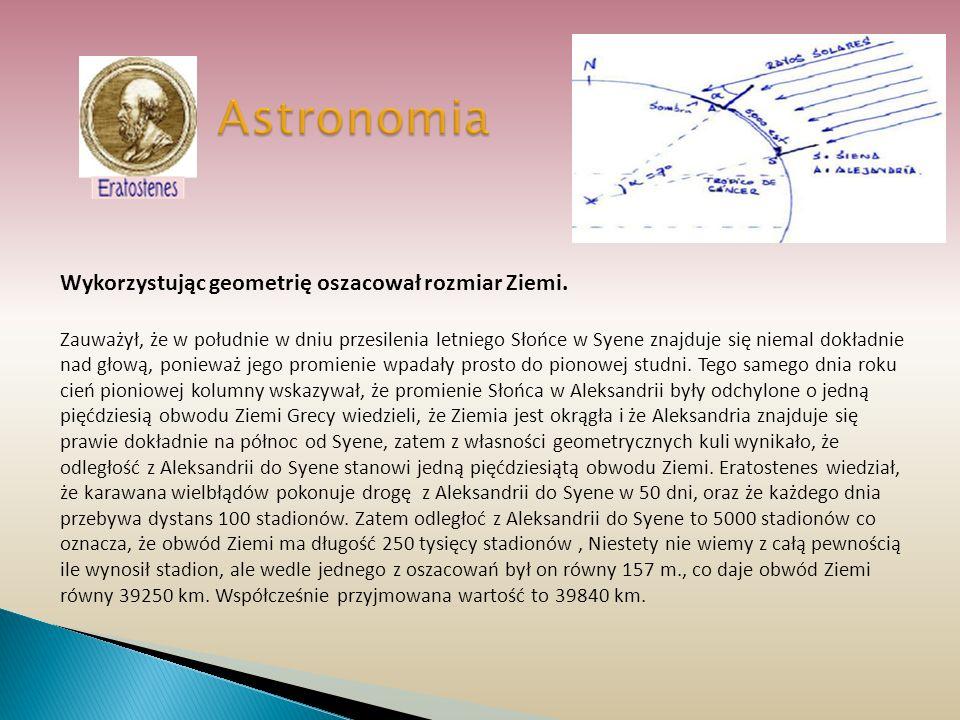 Astronomia Wykorzystując geometrię oszacował rozmiar Ziemi. Zauważył, że w południe w dniu przesilenia letniego Słońce w Syene znajduje się niemal dok